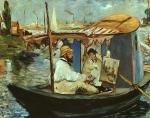 Claude Monet Trabalhando em seu Barco em Argenteuil