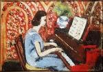 Pequena Pianista, Vestido Azul, Fundo Vermelho