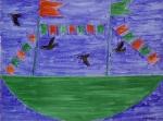 Barco com Bandeirinhas e Pássaros